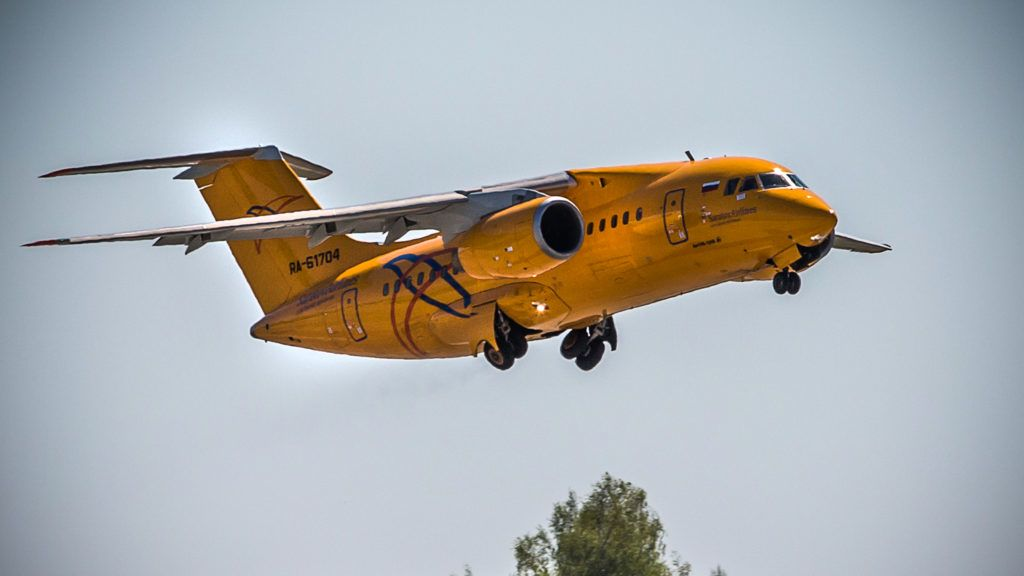 A photo taken on May 6, 2017 shows Saratov Airlines airline plane An-148 with a tail number of RA-61704 on an airstrip at Moscow's Domodedovo international airport outside Moscow. The Russian passenger plane carrying 71 people crashed near Moscow on February 11, 2018 minutes after taking off, killing everyone on board in one of the country's worst ever aviation disasters. / AFP PHOTO / Marina Lystseva