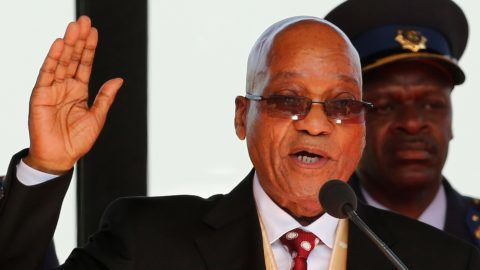 (FILES) In this file photo taken on May 24, 2014 South African President Jacob Zuma takes the oath during his inauguration ceremony  at the Union Buildings in Pretoria.  South African President Jacob Zuma announced his immediate resignation in a TV address to the nation on February 14, 2018, after the ruling ANC party threatened to eject him from office via a parliamentary vote of no confidence. / AFP PHOTO / POOL / SIPHIWE SIBEKO