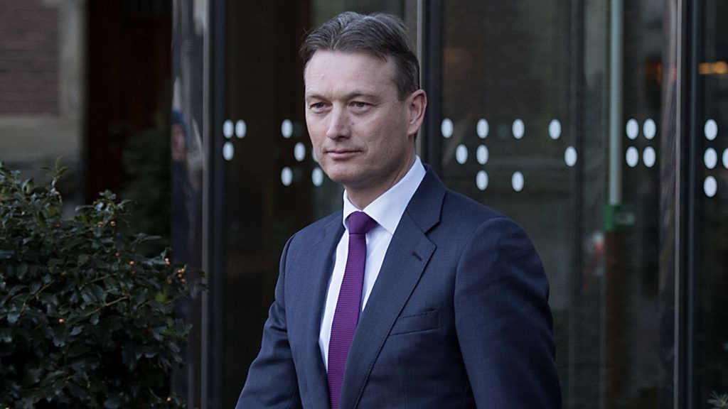 """Dutch Minister of Foreign Affairs Halbe Zijlstra leaves the Dutch parliament Tweede Kamer after he announced his resignation in The Hague on February 13, 2018.   Dutch Foreign Minister Halbe Zijlstra resigned today, after only four months in the job, after admitting he had lied about his presence at a meeting with Russian President Vladimir Putin. """"I see no other option today than to hand in my resignation to his majesty the King,"""" a tearful Zijlstra told MPs in a hastily-called session of parliament, just hours before he was due to leave on an official trip to Moscow.  / AFP PHOTO / ANP / Martijn Beekman / Netherlands OUT"""