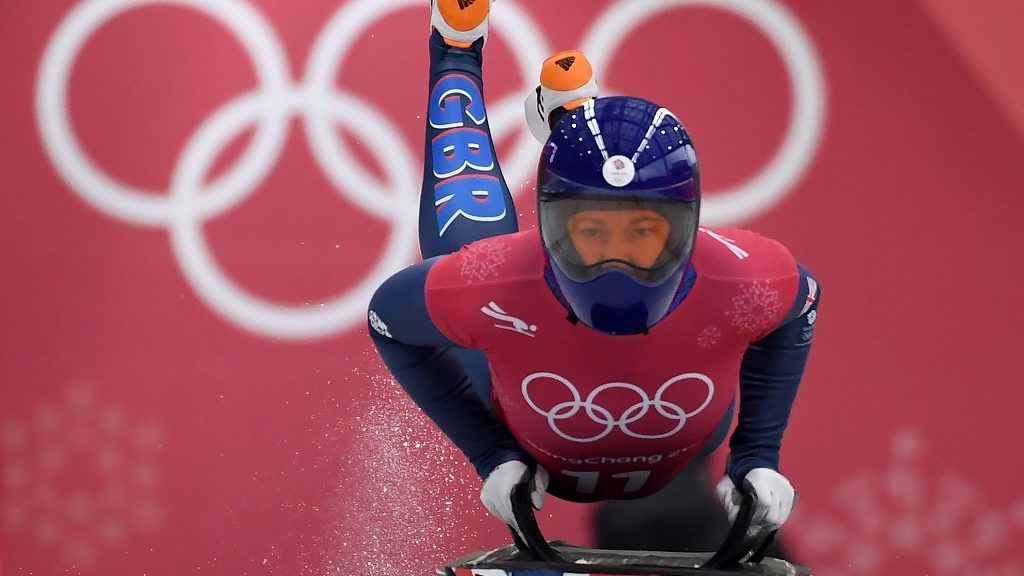 Lizzy Yarnold of Great Britain starts her womens skeleton training session at the Olympic Sliding Centre, during the Pyeongchang 2018 Winter Olympic Games in Pyeongchang, South Korea on February 14, 2018. / AFP PHOTO / Mark RALSTON