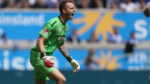 Duisburg goalkeeper Mark Flekken shouts directions to his teammates during the 2nd Bundesliga match pitting MSV Duisburg vs VfL Bochum at the Schauinsland Reisen Arena in Duisburg, Germany, 05 May 2017. 