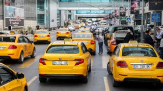 Taxis line up at the airport in Istanbul, Turkey, 25 September 2017. Photo: Jan Woitas/dpa-Zentralbild/dpa
