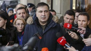 Ukrainian opposition figure and Georgian former President Mikheil Saakashvili talks to media in front of the Fairmont Grand Hotel in Kyiv, Ukraine, Feb.9, 2018. His press-office distributed the information about the try of unidentified armed persons introducing themselves as special unit of Border Service to capture him.  (Photo by Sergii Kharchenko/NurPhoto)