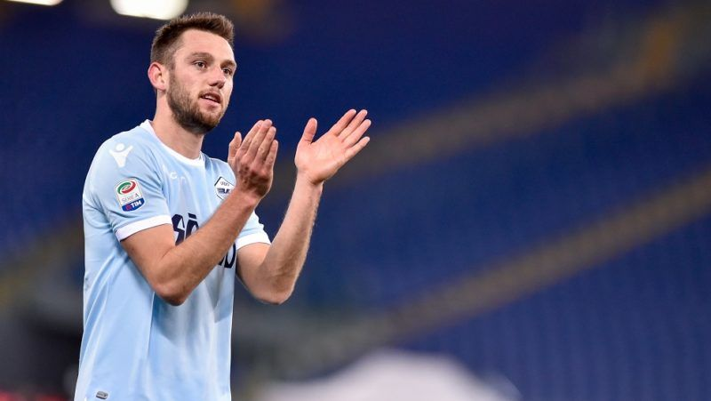 Stefan de Vrij of Lazio celebrates the victory during the Serie A match between Lazio and Hellas Verona at Olympic Stadium, Roma, Italy on 19 February 2018.  (Photo by Giuseppe Maffia/NurPhoto)