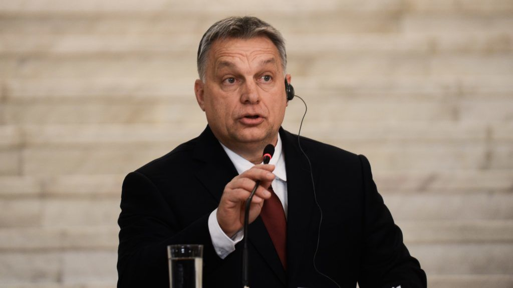 Hungarian Prime Minister Viktor Orban,   during press conference with the Bulgarian Prime Minister Boyko Borisov, following a bilateral governmental summit of Bulgaria and Hungary in Sofia, Bulgaria on February 19, 2018. The accents of the meeting with the Bulgarian leader are the options for development of bilateral relations, cooperation in economy, investments and culture, the guard of the EU's external borders and the ideas for the future of Europe. Interaction between the Bulgarian presidency of the EU and the Hungarian Presidency Visegrad Group and the actual European themes, Sofia, Bulgaria on February 19, 2018 (Photo by Hristo Rusev/NurPhoto)