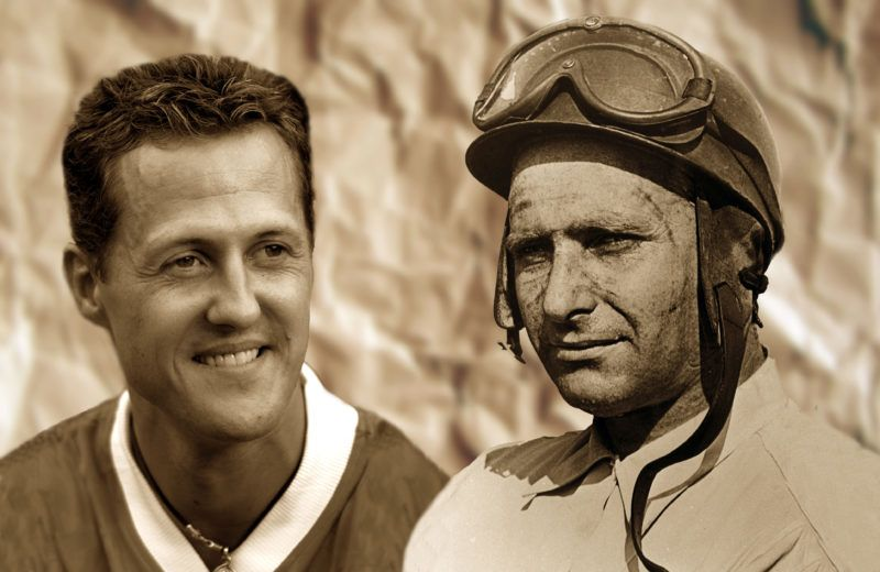 Michael Schumacher could set up a monument for himself with his 6th world championship titel this season. He would surpass Argentinian driver Juan Manuel Fangio (r), who was world champion five times. The picture of Fangio was taken in 1955.null