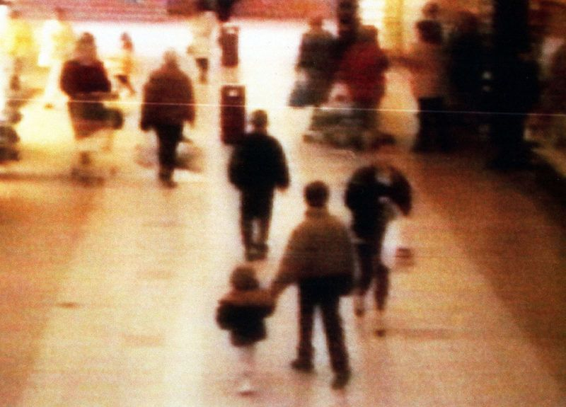391286 04: FILE PHOTO: A surveillance camera shows the abduction of two-year-old James Bulger from the Bootle Strand shopping mall February 12 1993 at 3:42pm near Liverpool, England. Bulger holds the hand of Jon Venables, one of two ten-year-old boys later convicted of his torture and murder. The government announced the release of Venables and Robert Thompson, now the age of 18, despite a public outcry to keep them in jail, June 22, 2001. The boys will be given new identities which a judge has barred the British media from disclosing. (Photo by BWP Media via Getty Images)