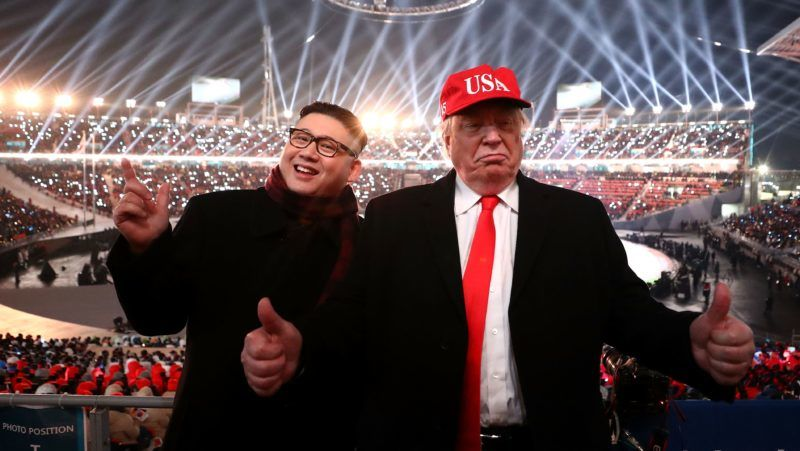 PYEONGCHANG-GUN, SOUTH KOREA - FEBRUARY 09:  Impersonators of Donald Trump and Kim Jong Un pose during the Opening Ceremony of the PyeongChang 2018 Winter Olympic Games at PyeongChang Olympic Stadium on February 9, 2018 in Pyeongchang-gun, South Korea.  (Photo by Ryan Pierse/Getty Images)