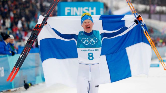 PYEONGCHANG-GUN, SOUTH KOREA - FEBRUARY 24: Iivo Niskanen of Finland celebrates his gold during the Mens 50k Classic competition at Alpensia Cross-Country Centre on February 24, 2018 in Pyeongchang-gun, South Korea. (Photo by Nils Petter Nilsson/Getty Images)
