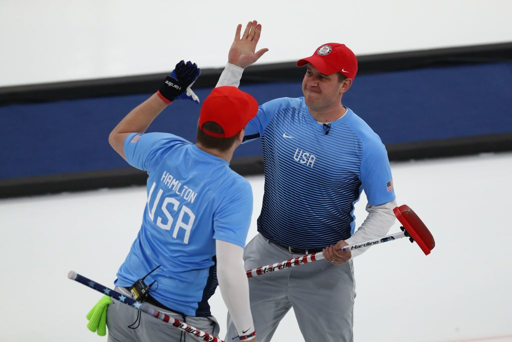 GANGNEUNG, SOUTH KOREA - FEBRUARY 24:  John Shuster and Matt Hamilton of the United States look on during the game against Sweden during the Curling Men's Gold Medal game on day fifteen of the PyeongChang 2018 Winter Olympic Games at Gangneung Curling Centre on February 24, 2018 in Gangneung, South Korea.  (Photo by Dean Mouhtaropoulos/Getty Images)