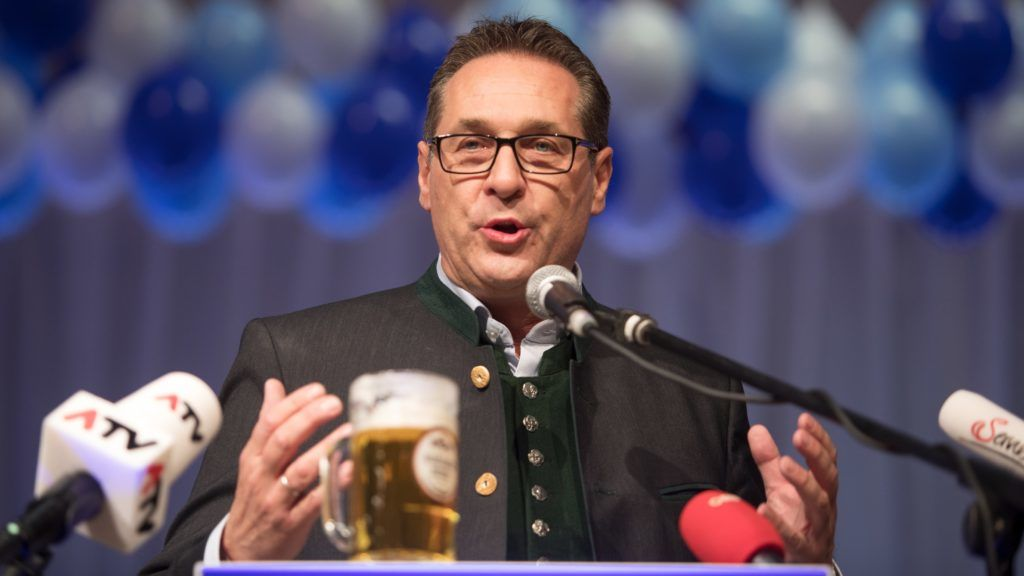 """AUSTRIA; RIED IM INNKREIS; 20180214; Vice Chancellor Heinz - Christian Strache (FPOe, Freedom Party Austria) during his speech at the Jahn - Turn Halle on 14 February 2018 in Ried im Innkreis, Upper Austria, Austria. The Freedom Party of Austria organizes its political Ash Wednesday since 1992 (Photo credit should read """"ALEX HALADA/APA-PictureDesk via AFP"""")"""