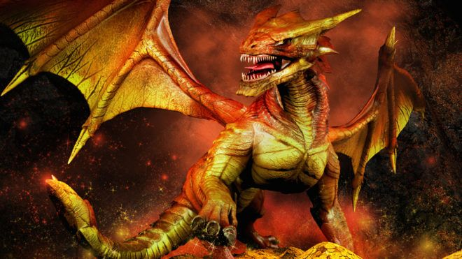 Fantasy scene with red dragon on a pile of gold