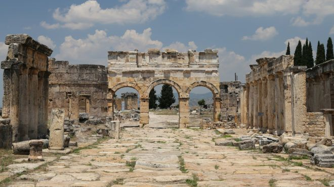 Frontinus Gate and Street in Hierapolis Ancient City, Pamukkale, Turkey