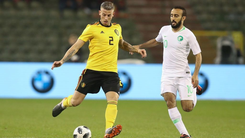 Belgium's Toby Alderweireld and Saudi Arabia's forward Mohammad Al-Sahlawi fight for the ball during a friendly game between the Red Devils Belgian National soccer team and Saudi Arabia, in Brussels, Tuesday 27 March 2018. BELGA PHOTO BRUNO FAHY