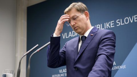 Slovenian Prime Minister Miro Cerar gestures as he addresses a press conference in Ljubljana, Slovenia on March 14, 2018.Slovenian center-left Prime Minister Miro Cerar resigned late March 14, 2018, after the invalidation of a government referendum that approved a major infrastructure project. / AFP PHOTO / Jure Makovec