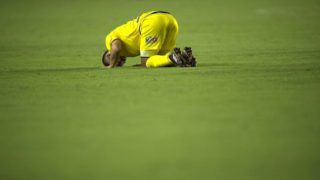 Chile's Universidad Concepcion player Jean David Meneses reacts after they lose to Brazil's Vasco da Gama in their 2018 Libertadores Tournament football match at the Sao Januario stadium in Rio de Janeiro, Brazil, on February 7, 2018. / AFP PHOTO / MAURO PIMENTEL