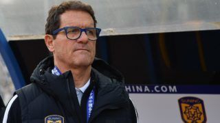 Head coach Fabio Capello of Jiangsu Suning watches his players competing against Beijing Sinobo Guoan in the 29th round match during the 2017 Chinese Football Association Super League (CSL) in Nanjing city, east China's Jiangsu province, 29 October 2017.
