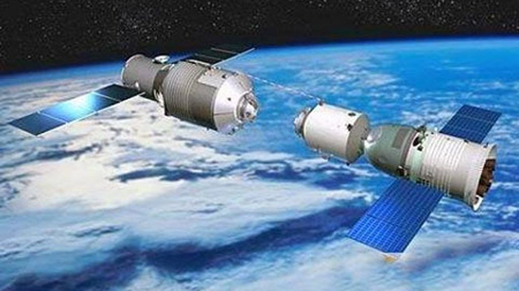 In this TV grab, Chinas latest manned space capsule docked with the lab, the Tiangong-1 in space, 13 June 2013.  Chinas latest manned space capsule docked with an orbiting space station Thursday (13 June 2013) and the three astronauts climbed aboard what will be their home for the next week, state media reported. Automated controls guided the Shenzhou-10s docking with the space lab, the Xinhua News Agency said. After entering the space lab, the crew exchanged their space gear for blue jumpsuits, Xinhua said. During their 12-day stay at the lab, the astronauts will perform a manual docking exercise and conduct scientific experiments. They will also deliver a series of science lectures part of an outreach to increase the space programs popularity among younger Chinese. The lab, the Tiangong-1, is an experimental space station. In operation for less than two years, it will be taken out of use later this year and replaced by a larger, more durable module by 2020.