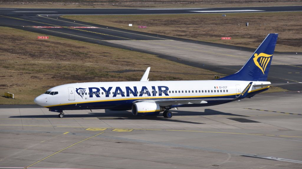 19 March 2018, Germany, Cologne: A Boeing 737 of Irish airline Ryanair on the airfield. · NO WIRE SERVICE · Photo: Horst Galuschka/dpa