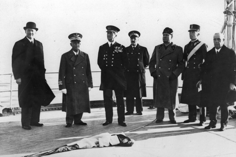 Hungarian prime minister Darany; King Victor Emmanuel III; regent Mikós Horthy and Dictator Benito Mussolini. Naples. Photograph. Novebmer 28th, 1936. (Photo by Imagno/Getty Images) Ungarischer Premierminister Darany; König Viktor Emanuel III.; Regent Miklós Horthy und Dikator Benito Mussolini. Neapel. Photographie. 28. November 1936.