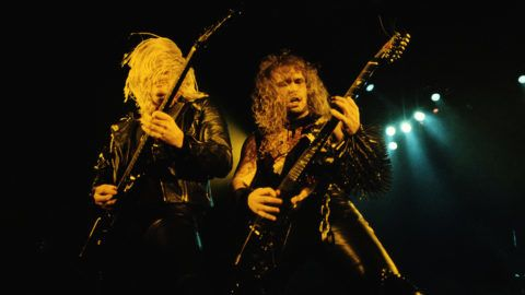 American thrash metal band Slayer performs onstage, mid 1980s. Pictured are guitarists Jeff Hanneman (1964 - 2013) (left) and Kerry King. (Photo by Tony Mottram/Getty Images)