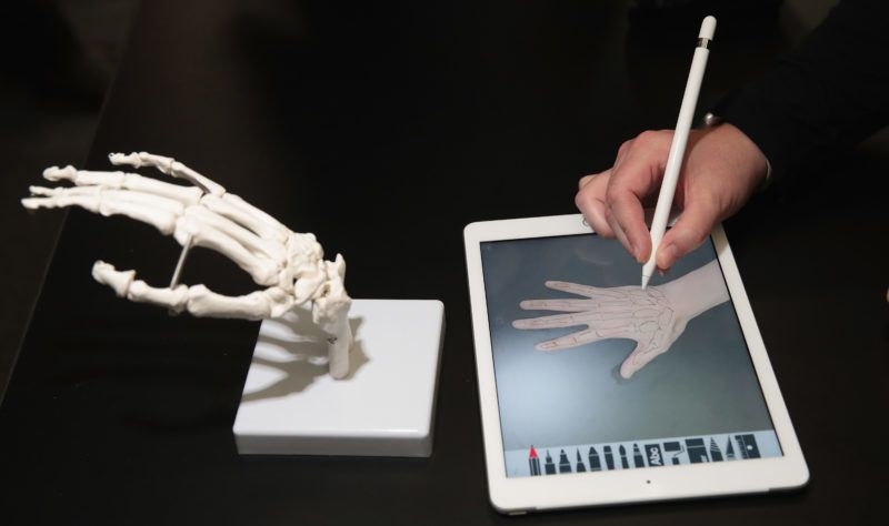 CHICAGO, IL - MARCH 27: A guest draws the bones of the hand on Apple's new 9.7-inch iPad during an event held to introduce the device at Lane Tech College Prep High School on March 27, 2018 in Chicago, Illinois. The device will work with Apple Pencil and is available today.   Scott Olson/Getty Images/AFP