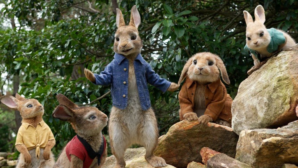 Flopsy, Mopsy, Peter (James Corden), Benjamin and Cottontail in Columbia Pictures' PETER RABBIT. Courtesy of Sony Pictures