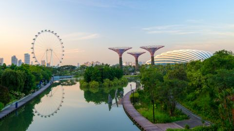 Singapore City, Singapore - June 23, 2014: Supertree Grove in the Garden by the Bay in Singapore.
