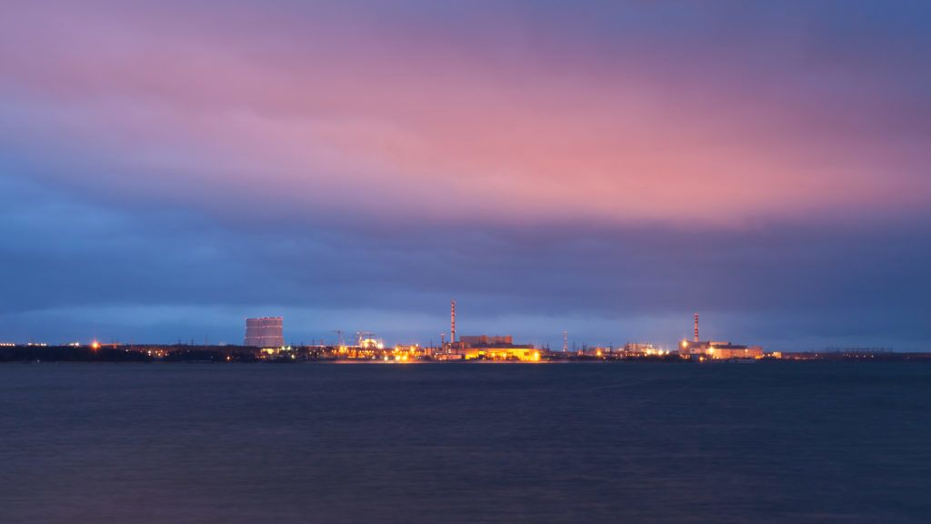 Night view of Leningrad Nuclear Plant on the coast of Baltic Sea