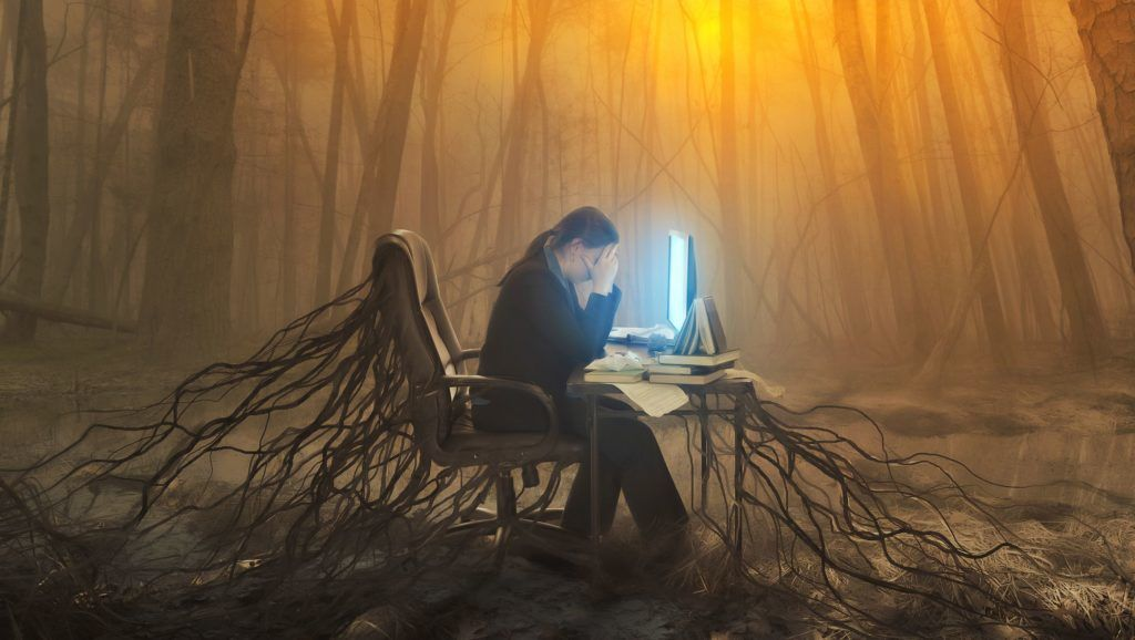 Illustration of a business woman stuck at work in the forest