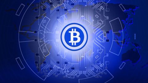 Abstract technology bitcoins logo with circuit line on world map,blue technology background