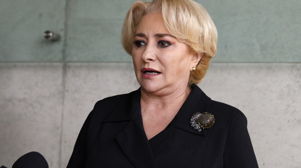 Romanian Prime Minister Viorica Dancila looks on as she visits the Yad Vashem Holocaust Memorial museum in Jerusalem commemorating the six million Jews killed by the German Nazis and their collaborators during World War II on April 25, 2018. Dancila was in Israel for a two-day visit, as a political row brews at home over the possible transfer of Romania's embassy to Jerusalem. / AFP PHOTO / GALI TIBBON