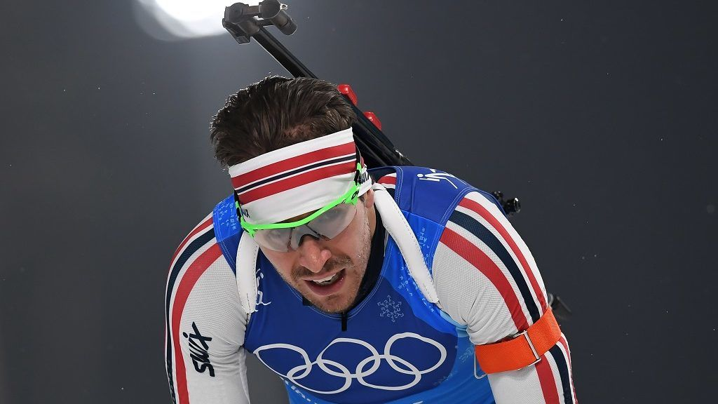 Norway's Emil Hegle Svendsen crosses the finish line to win team silver in the men's 4x7,5km biathlon relay event during the Pyeongchang 2018 Winter Olympic Games on February 23, 2018, in Pyeongchang. / AFP PHOTO / FRANCK FIFE
