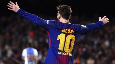 Barcelona's Argentinian forward Lionel Messi celebrates after scoring a goal during the Spanish league football match between FC Barcelona and Club Deportivo Leganes SAD at the Camp Nou stadium in Barcelona on April 7, 2018. / AFP PHOTO / Josep LAGO