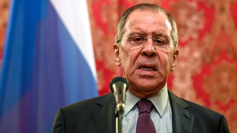 Russian Foreign Minister Sergei Lavrov speaks during a press conference after his meeting with his North Korean counterpart in Moscow on April 10, 2018. The North's foreign minister Ri Yong Ho arrived in Moscow on April 9 after stopping in Beijing. He also paid a visit last month to Sweden, which acts as a diplomatic go-between for Washington and Pyongyang. / AFP PHOTO / Kirill KUDRYAVTSEV
