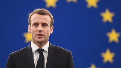 French President Emmanuel Macron arrives for a speech at the European Parliament on April 17, 2018 in the eastern French city of Strasbourg. Macron addresses the European Parliament for the first time in a bid to shore up support for his ambitious plans for post-Brexit reforms of the EU. French leader wants big changes in the face of growing scepticism about the European project, but there has been a marked lack of enthusiasm from Berlin to Budapest. Macron's speech to MEPs in the eastern French city of Strasbourg is part of a charm offensive ahead of European Parliament elections in May 2019, the first after Britain's departure.  / AFP PHOTO / Frederick FLORIN