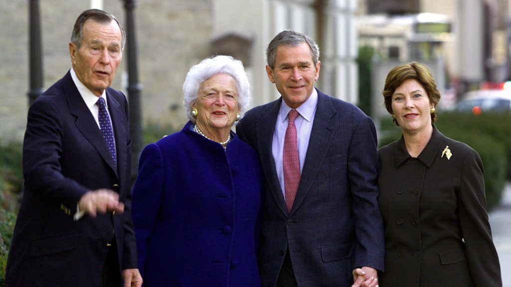 "(FILES) In this file photo taken on January 26, 2002 US President George W. Bush (2nd-R), his wife Laura (R), parents former US President George Herbert Walker Bush (L) and former first lady Barbara Bush (2nd L) as they leave St. John's Episcopal Church after Sunday morning services across from the White House in Washington, DC.  Former US first lady Barbara Bush died Tuesday, April 17, 2018 at the age of 92, her husband's office said. ""A former First Lady of the United States of America and relentless proponent of family literacy, Barbara Pierce Bush passed away Tuesday, April 17, 2018 at the age of 92,"" said a statement from the office of her now widower George H.W. Bush. They were married for 73 years. / AFP PHOTO / Paul J. RICHARDS"