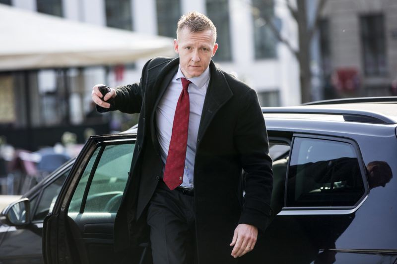 Prosecutor Jakob Buch-Jepsen arrives on April 23, 2018 for a hearing at the Copenhagen city council where the trial against Danish inventor Peter Madsen, accused of the grisly murder of Swedish journalist on board his self-made submarine, wraps up with a verdict due on April 25 at the earliest. While the 10 days of hearings in Copenhagen's district court have shed light on some disturbing aspects of Madsen's personality -- he devoured macabre films of women being raped and decapitated -- they have also revealed a lack of irrefutable physical evidence. / AFP PHOTO / Ritzau Scanpix / Nikolai Linares / Denmark OUT
