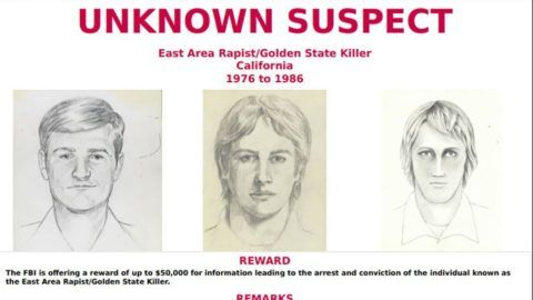"""This FBI wanted poster obtained April 25, 2018 shows drawings of a suspect known as the """"Golden State Killer"""". A notorious decades-old mystery over the identity of the """"Golden State Killer,"""" believed to have carried out dozens of rapes and multiple murders in California in the 1970s and 1980s, may finally be solved: a suspect has reportedly been arrested. Joseph James DeAngelo, 72, is being held in the Sacramento County jail on two counts of murder, the Sacramento Bee reported on April 25, 2018.According to local television stations, DeAngelo was once a policeman. The Golden State Killer, also known as the """"East Area Rapist"""" and """"Original Nightstalker,"""" is suspected of carrying out at least 12 murders and 45 rapes in California between 1976 and 1986, according to the FBI.  / AFP PHOTO / FBI / Handout / RESTRICTED TO EDITORIAL USE - MANDATORY CREDIT """"AFP PHOTO / FBI/HANDOUT"""" - NO MARKETING NO ADVERTISING CAMPAIGNS - DISTRIBUTED AS A SERVICE TO CLIENTS"""