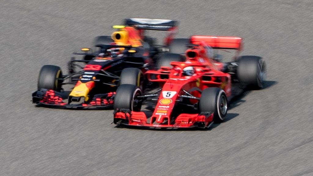 German F1 Sebastian Vettel of Ferrari and Dutch F1 driver Max Verstappen of Red Bull Racing collide as they compete during the 2018 Formula One Chinese Grand Prix at the Shanghai International Circuit in Shanghai, China, 15 April 2018.  Daniel Ricciardo charged from sixth to score a stunning first win of the 2018 Formula 1 season as Max Verstappen and Sebastian Vettel collided in a wild Chinese Grand Prix. Bottas and Vettel were locked in their own battle for the win until Ricciardo and Verstappen pitted again for fresh, soft tyres during a safety car period just after the halfway mark as their rivals stayed on mediums. Ricciardo then overtook his team-mate, Lewis Hamilton and Vettel in quick succession before executing a stunning pass on Bottas into the tight Turn 6 right-hander for the victory.