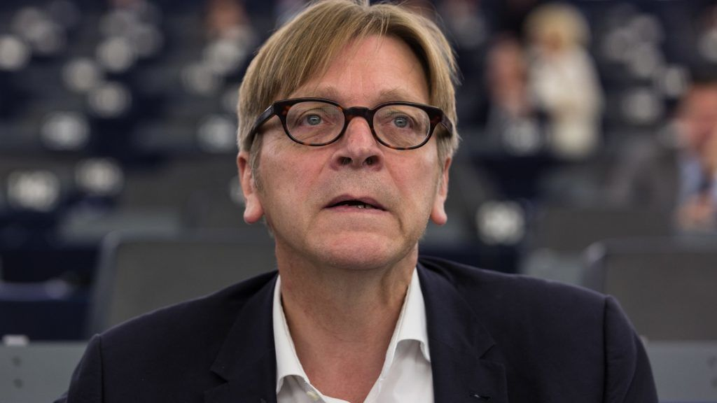FRANCE, Strasbourg: Member of European Parliament and leader of the ALDE Liberal group Guy Verhofstadt is pictured during a plenary session at the European Parliament, in Strasbourg, eastern France, on September 9, 2015. - CrowdSpark/CLAUDE  TRUONG-NGOC