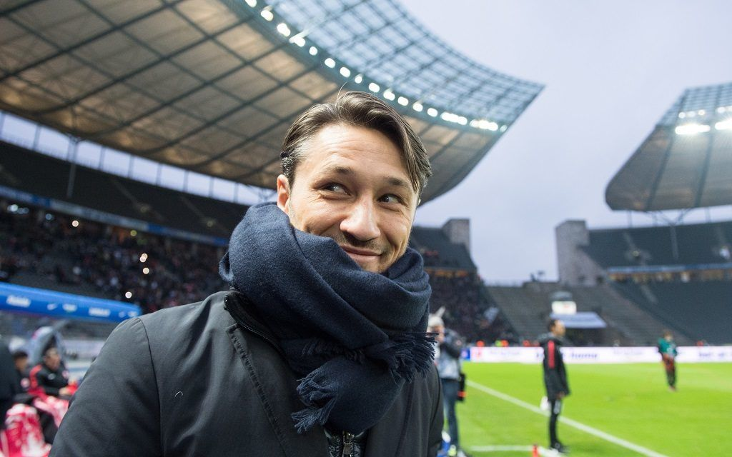 Eintracht head coach Nico Kovac smiling on the sidelines ahead of the German Bundesliga soccer match between Hertha BSC and Eintracht Frankfurt in the Olympic Stadium in Berlin, Germany, 03 December 2017.   EMBARGO CONDITIONS - ATTENTION: The DFB prohibits the utilisation and publication of sequential pictures on the internet and other online media during the match (including half-time). ATTENTION: BLOCKING PERIOD! The DFB permits the further utilisation and publication of the pictures for mobile services (especially MMS) and for DVB-H and DMB only after the end of the match. Photo: Annegret Hilse/dpa
