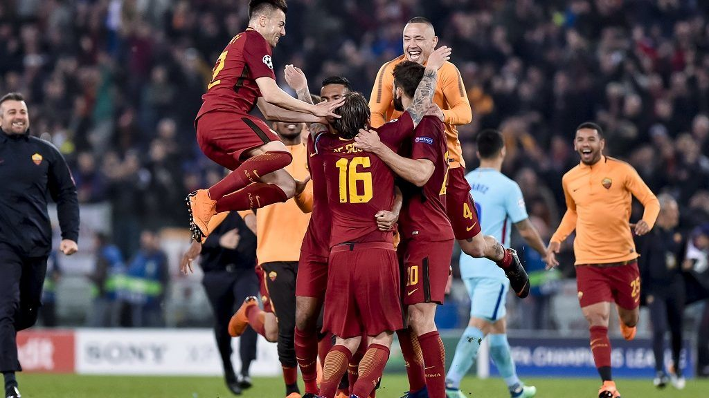 Roma Players celebrate the victory after the UEFA Champions League Quarter Final match between Roma and FC Barcelona at Stadio Olimpico, Rome, Italy on 10 April 2018. (Photo by Giuseppe Maffia/NurPhoto)