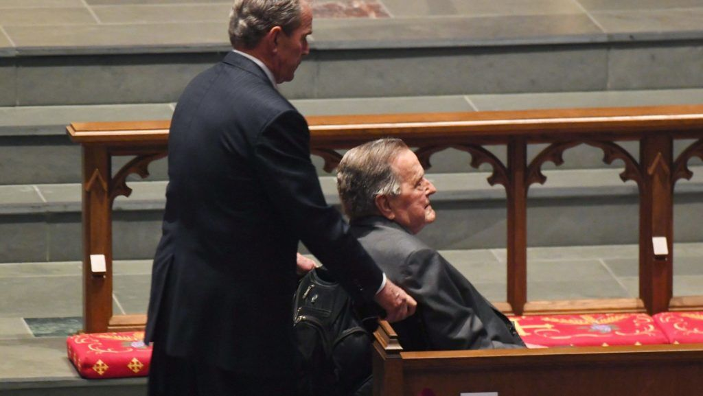 Former US Presidents George W. Bush (L) and George H.W. Bush arrivefor the funeral for former US First Lady Barbara Bush at St. Martin's Episcopal Church in Houston, Texas, on April 21, 2018.   / AFP PHOTO / POOL / Jack Gruber