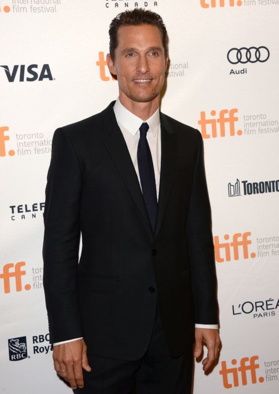 """TORONTO, ON - SEPTEMBER 07:  Actor Matthew McConaughey arrives at the """"Dallas Buyers Club"""" premiere during the 2013 Toronto International Film Festival at Princess of Wales Theatre on September 7, 2013 in Toronto, Canada.  (Photo by Jason Merritt/Getty Images)"""