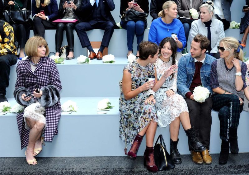 LONDON, UNITED KINGDOM - SEPTEMBER 16: Anna Wintour, Pixie Geldof, Daisy Lowe and Laura Bailey attend the Erdem show during London Fashion Week SS14 at  on September 16, 2013 in London, England. (Photo by Stuart C. Wilson/Getty Images)