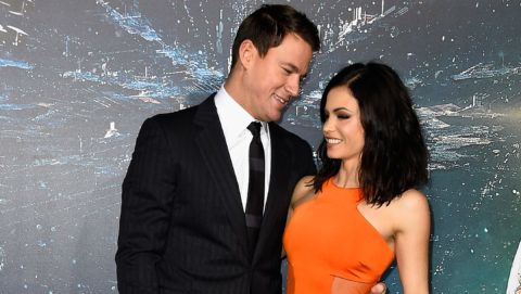"""HOLLYWOOD, CA - FEBRUARY 02:  Actors Channing Tatum and Jenna Dewan arrive at the Premiere of Warner Bros. Pictures' """"Jupiter Ascending"""" at TCL Chinese Theatre on February 2, 2015 in Hollywood, California.  (Photo by Frazer Harrison/Getty Images)"""