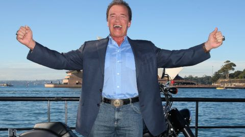 SYDNEY, AUSTRALIA - JUNE 04: Arnold Schwarzenegger poses during a 'Terminator Genisys' photo call at the Park Hyatt Sydney on June 4, 2015 in Sydney, Australia.  (Photo by Cameron Spencer/Getty Images)