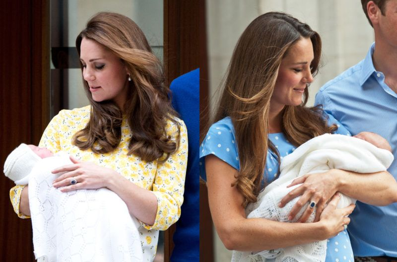 A comparison picture showing Catherine, Duchess of Cambridge and Prince William, Duke of Cambridge outside the Lindo Wing of St. Mary's Hospital in London for the birth of Prince George of Cambridge (right) and the birth of the Princess of Cambridge (left). Prince George was born on July 22, 2013 and the Princess of Cambridge on May 2, 2015. The Duchess wore a Jenny Packham dress for both births. (Photo by Zak Hussein/Corbis via Getty Images)