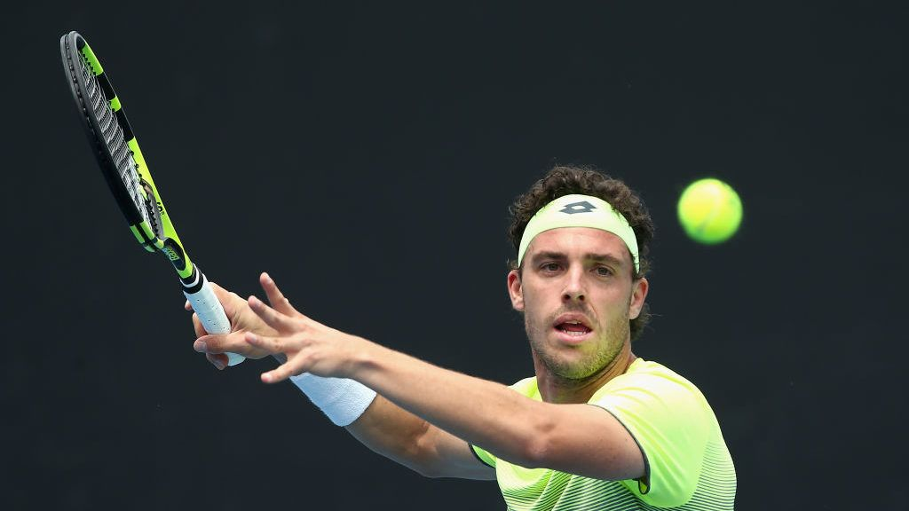 MELBOURNE, AUSTRALIA - JANUARY 10:  Marco Cecchinato of Italy competes in his first round match against Bradley Mousley of Australia during 2018 Australian Open Qualifying at Melbourne Park on January 10, 2018 in Melbourne, Australia.  (Photo by Robert Prezioso/Getty Images)